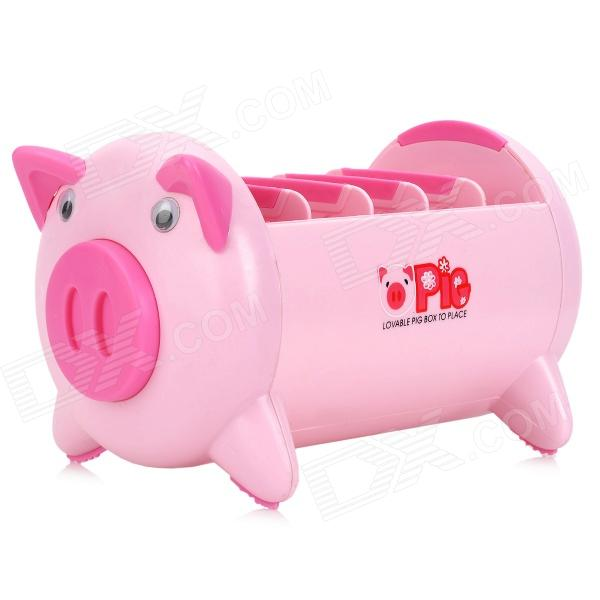 Cute Pig Multifunctional Remote Control Mobile Phone Storage Box Holder - Pink Round Rock Покупка вещей