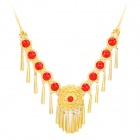Belly Dance Titanium Acrylic Necklace - Golden + Red