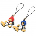 Cartoon Taekwondo Style Cell Phone Strap for Lovers Couples - Red + Blue (2 PCS)