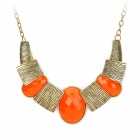 Retro Gold-plating Resin Necklace for Women - Orange + Bronze