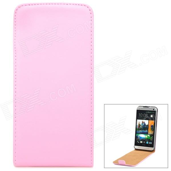 Genuine Leather Protective Flip-Open Case for HTC One M7 - Pink genuine leather protective flip open case for htc one m7 black