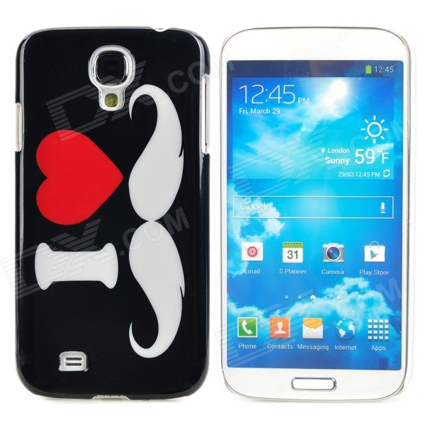 Mustache Style Protective Plastic Back Case for Samsung Galaxy S4 i9500 - Black + White + Red water drop style protective plastic back case for samsung galaxy s4 i9500 yellow orange