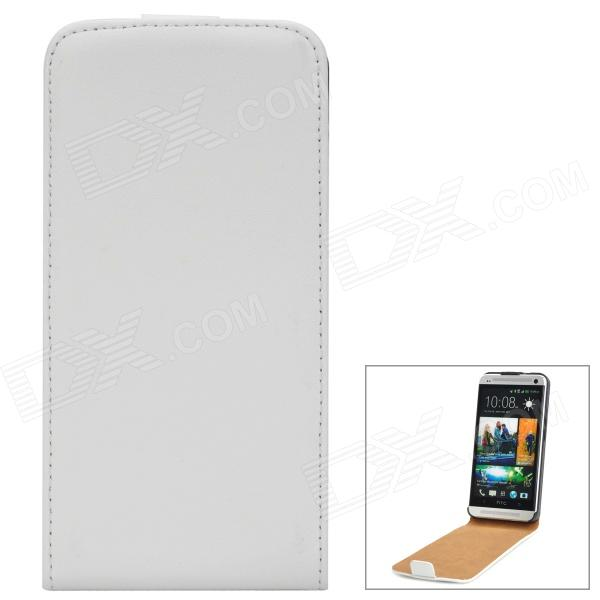 Genuine Leather Protective Flip-Open Case for HTC One M7 - White genuine leather protective flip open case for htc one m7 black