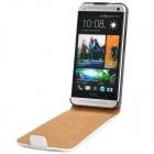 Genuine Leather Case-flip abierto protectora para HTC uno M7 - Blanco