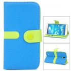 Protective PU Leather + PC Case w/ Strap for Samsung Galaxy S4 i9500 - Blue + Green