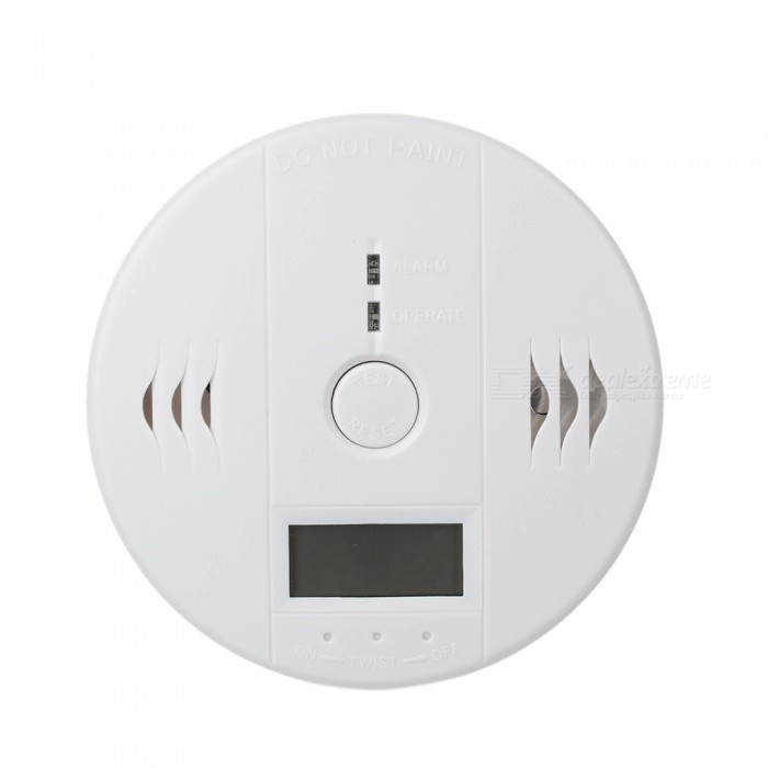 1.25'' LCD High Sensitivity Carbon Monoxide Detector Alarm w/ Blue Screen - White