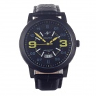 SPEATAK SP9036G Fashionable Men's Quartz Watch w/ Simple Calendar - Black + Yellow (1 x LR44)