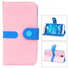 Protective PU Leather + PC Case w/ Strap for Samsung Galaxy S4 i9500 - Pink + Blue