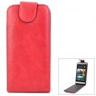 Protective Flip-Open PU Leather + PC Case for HTC M7 - Purple Red