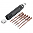 Compact 6-in-1 Steel Screwdrivers Tool Kit for RC Helicopter - Black + Silver + Brown
