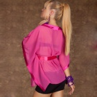 Stylish Sexy Batwing Chiffon Shirt with Belt - Deep Pink (Size L)