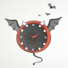 DIY 3D Cartoon Bat Style Removable Wall Clock - Red + Black + White (1 x AA)