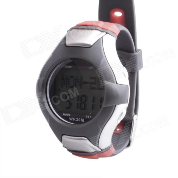 SB-025 Stylish Multifunctional Pedometer Heart Rate Calories Counter Sports Watch - Silver + Grey multifunction digital pulse rate calories counter wrist watch orange 1 x 2032
