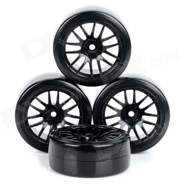 60mm Duroplast Slick Wheels for R/C 1:10 Drift Car - Black (4 PCS)