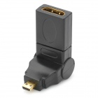 8-180 180 Degree All-round RotatableGold-plated Micro HDMI Male to HDMI Female Adapter - Black