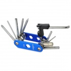 S63-06-1 13-in-1 Multifunction Foldable Bicycle Repair Kit w/ Chain Splitter Cutter - Blue + Silver