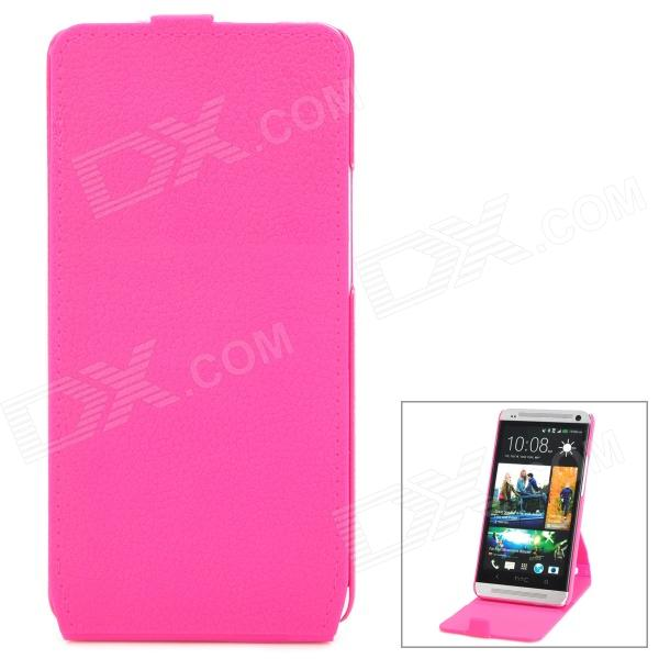 Protective Flip-Open 360 Degree Rotation Case for HTC One M7 801e - Deep Pink genuine leather protective flip open case for htc one m7 black