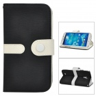Protective PU Leather + PC Case w/ Strap for Samsung Galaxy S4 i9500 - Black + White