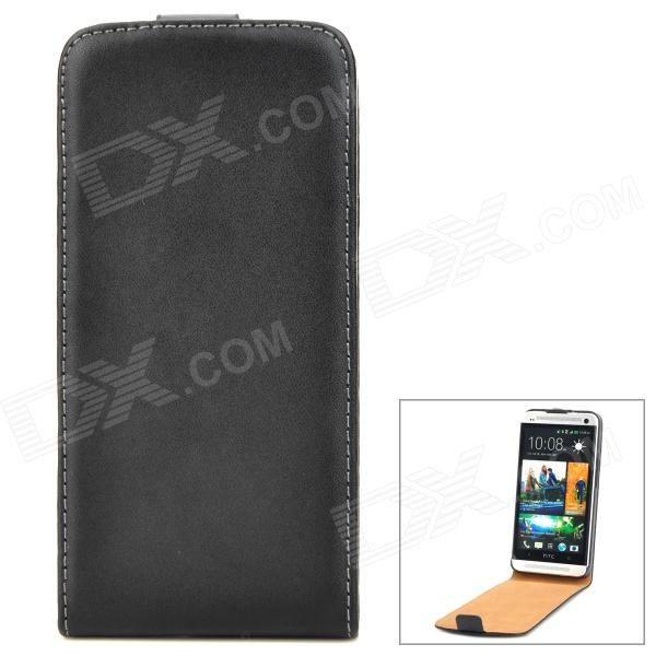 Genuine Leather Protective Flip-Open Case for HTC One M7 - Black genuine leather protective flip open case for htc one m7 black