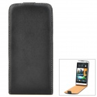 Genuine Leather Case-flip abierto protectora para HTC uno M7 - Negro