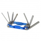 S63-03 Steel 7-in-1 Multi-Tool Bicycle Screwdrivers + Allen Wrenches Repair Kit - Blue + Silver
