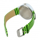 Stripe Pattern PU Band Analog Quartz Wrist Watch - Black + Green + White (1 x 377)