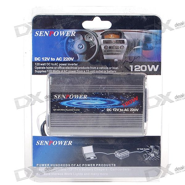 Senpower 120W Car 12V DC to 220V AC Power Inverter with Universal Socket Adapter