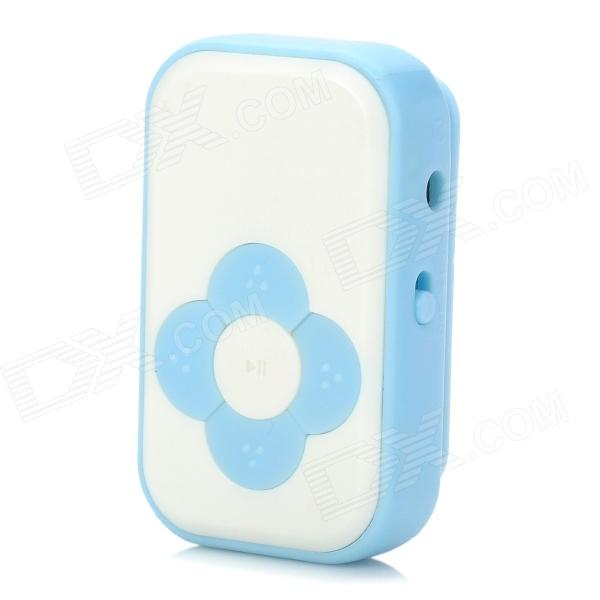 Fashionable Mini 110mAh Li-ion Polymer TF Card MP3 Player w/ Clip - Blue + White (16GB Max.)