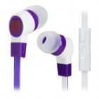 Stylish In-Ear Earphone w/ Microphone / Flat Cable for Cell Phone - Purple + White (3.5MM-Plug)