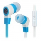 Stylish In-Ear Earphone w/ Microphone / Flat Cable for Cell Phone - Blue + White (3.5MM-Plug)