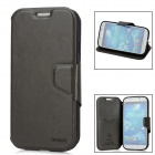 Classic Flip-open Genuine Leather Case + Protective Screen Film for Samsung Galaxy S4 i9500 - Gray