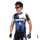 LAMBO HY89 Bicycle Cycling Polyester Short Sleeves Jersey - Black + Blue (Size-L)