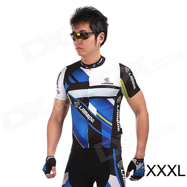 LAMBO HY89 Bicycle Cycling Polyester Short Sleeves Jersey - Black + Blue (Size-XXXL) arsuxeo ar608s quick drying cycling polyester jersey for men fluorescent green black l
