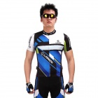 LAMBO HY89 Bicycle Cycling Polyester Short Sleeves Jersey - Black + Blue (Size-M)