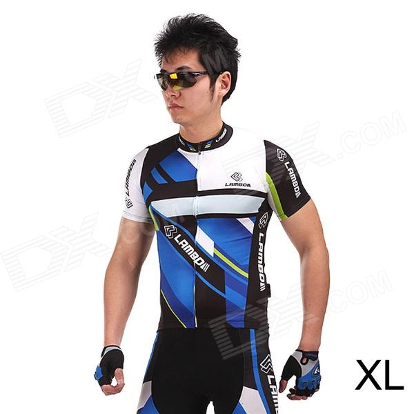 LAMBO HY89 Bicycle Cycling Polyester Short Sleeves Jersey - Black + Blue (Size-XL) for mitsubishi outlander lancer 10 9 asx pajero sport l200 colt carisma app control car interior led atmosphere decoration light