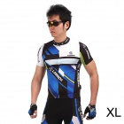 LAMBO HY89 Bicycle Cycling Polyester Short Sleeves Jersey - Black + Blue (Size-XL)