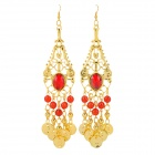 Titanium + Acrylic Earrrings for Belly Dance - Golden + Red (Pair)