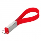 WS-21 Stylish Silicone Bracelet Style USB 2.0 Flash Drive Disk - Red + Silver (4GB)