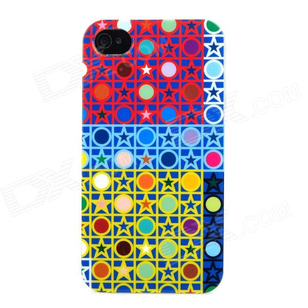 Five-Pointed Star & Polka Dot Style Protective Plastic Back Case for Iphone 4 / 4S - Multicolor nillkin protective matte plastic back case w screen protector for iphone 6 4 7 golden