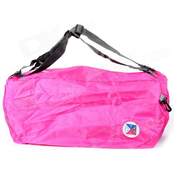 Multifunction Folding Polyester Shoulder Bag / Backpack / Handbag - Deep Pink