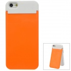 Protective PC Back Case w/ Card Holder & Mirror Stand for iPhone 5 - Orange + White