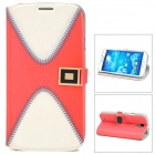 Protective PU Leather Case w/ Card Holder for Samsung Galaxy S4 i9500 - White + Red