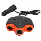 3-Sockets USB Car Cigarette Lighter Power Adapter Charger - Black + Red (DC 12/24V)