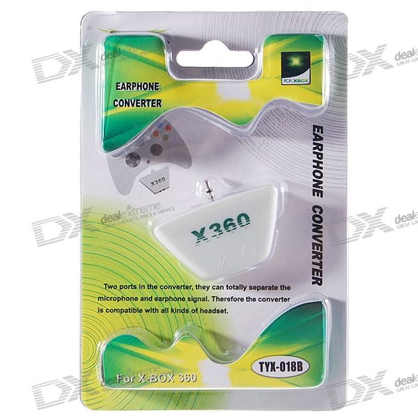 Xbox 360 Voice Headset Port to 2*Regular 3.5mm Earphone + Microphone Ports Converter