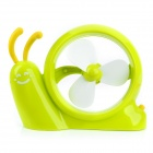 H2-10 Cute Snail Style Mini USB 2.0 3-blade 1-Mode Fan - Green + White
