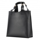 BG-02 Classic Simple Big Volume PU Leather Handbag w/ A Separeted Inner Bag - Black