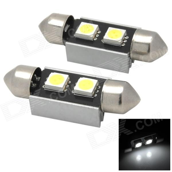Festoon 36mm 0.8W 24lm 2 x SMD 5050 LED Decoded White Car License Plate Light (12V / 2 PCS) cawanerl car 5630 smd led bulb led kit package white truck dome map trunk license plate light for 2009 2016 dodge ram 1500