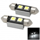 Festoon 36mm 0.8W 24lm 2 x SMD 5050 LED Decoded White Car License Plate Light (12V / 2 PCS)