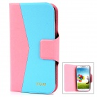 Fashion Flip Open Style PU Leather Case for Samsung i9500 w/ Card Slot - Pink + Blue + Black