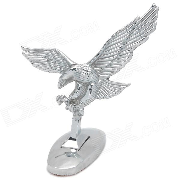 DIY 3D Eagle Stand Badge Sticker Car Front Hood Emblem - Silver dragon emperor kaiser loong imperial chinese character script 3d metal diy car auto motorcycle badge emblem sticker car styling